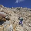 The terrain makes for superb scree running. - Bow Peak via Crowfoot Glades