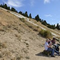 Enjoy a quick snack or break at one of the benches just below the M.- Bozeman's M Trail