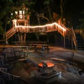 The Swiss Family Complex after dark.- Out'N'About Treehouse Resort