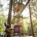 Swinging on the large swing beneath the 47-foot-tall Majestree Treehouse.- Out'N'About Treehouse Resort