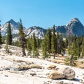 The trail traverses a steep dome.- Tuolumne Meadows to Glen Aulin High Sierra Camp