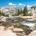 View of the Tuolumne River from the trail.- Tuolumne Meadows to Glen Aulin High Sierra Camp