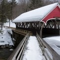 Covered bridge in the Flume Gorge area.- Franconia Notch State Park