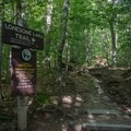 Beginning of Lonesome Lake Trail, which begins near the Lafayette Place Campground.- Franconia Notch State Park