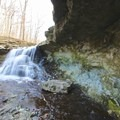 Side view of McCormick's Creek waterfall.- McCormick's Creek State Park