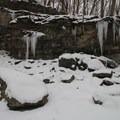 McCormick's Creek waterfall in winter.- McCormick's Creek State Park