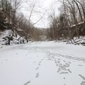 McCormick's Creek frozen over during the cold winter.- McCormick's Creek State Park
