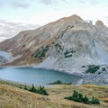 Capitol Lake as seen from the trail to the saddle.- Capitol Peak