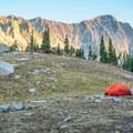 Capitol Peak at sunset from camp.- Capitol Peak