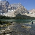 The end of the lake is where the Bow River begins. This requires a river crossing. At it's deepest the water is about 80 centimeters deep in August. It can vary depending on rain, heat, and snowmelt. Trekking poles are strongly recommended.- Bow Peak via Crowfoot Glades