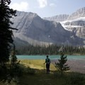 The final bulge of Bow Lake with the Crowfoot Glades and Glacier in the distance. - Bow Peak via Crowfoot Glades