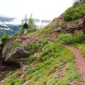 The last few miles of trail lead along an exposed mountainside with gorgeous views off to the left.- Triple Divide Peak