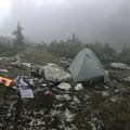 The Three Lakes Campsite shrouded in mist. - Mount Ossa Meadows