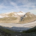 The Aletsch Glacier is the largest in the Alps. This is a panoramic view of the glacier and surrounding peaks, as seen from the viewing platform at the cable car station.- Fiescheralp to Eggishorn Hike