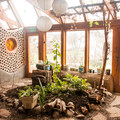 Inside the earthship. Bathroom to the left, garden in the center.- Earthship Patagonia Hostel