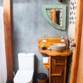 One of the bathrooms inside.- Earthship Patagonia Hostel