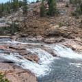 The Tuolumne River features numerous waterfalls.- Glen Aulin High Sierra Camp to Waterwheel Falls