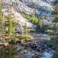 Late evening reflections in the Tuolumne River.- Glen Aulin High Sierra Camp to Waterwheel Falls