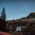 The stars coming out over California Falls.- Glen Aulin High Sierra Camp to Waterwheel Falls