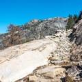 The trail is quite steep.- Glen Aulin High Sierra Camp to Waterwheel Falls