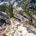 View of Waterwheel Falls.- Glen Aulin High Sierra Camp to Waterwheel Falls