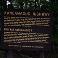 Information sign describing the Kancamagus Highway near Rocky Gorge Scenic Area.- Rocky Gorge Scenic Area