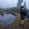 Three Lake can be hard to find in the fog. In misty weather, having a good map, compass, and GPS working together can be handy. - Mount Ossa Meadows