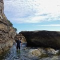 Luckily there are a few good exits to get back onto the rock. - Coasteering on Sangster Island