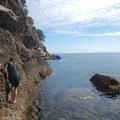 Easier conglomerate third class makes up the next section.- Coasteering on Sangster Island