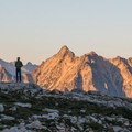 Mount Hardy to the north being lit by the alpenglow.- Black Peak: Northeast Ridge