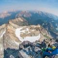 Looking back on the northeast ridge with Mount Hardy and Cutthroat Peak in the distance. - Black Peak: Northeast Ridge