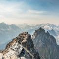 Looking west from the summit at Mount Goode, Buckner Mountain, and Boston Peak.- Black Peak: Northeast Ridge
