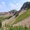 View back to the north of Lilly Basin and meadows from the Angry Mountain Trail junction.- Goat Rocks Thru-hike