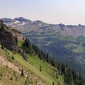 Rounding the western spur of Johnson Peak with Hawkeye Point above on the right.- Goat Rocks Thru-hike