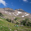 Ideal backcountry campsite in the south Johnson Peak cirque meadow below Hawkeye Point.- Goat Rocks Thru-hike
