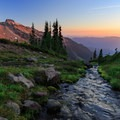 A fork of Johnson Creek pours downhill alongside an ideal backcountry campsite.- Goat Rocks Thru-hike