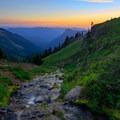 A fork of Johnson Creek tumbles down a steep hillside through lush meadows at sunset.- Goat Rocks Thru-hike
