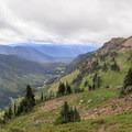 View of Goat Creek canyon below the Lilly Basin Trail as it nears Goat Lake.- Goat Rocks Thru-hike