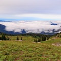 Mount Adams and Mount Saint Helens above the clouds from the PCT en route to Old Snowy Mountain.- Goat Rocks Thru-hike