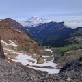 Mount Rainier above the Packwood Glacier ridge where the PCT meets the Old Snowy Mountain climber's trail.- Goat Rocks Thru-hike