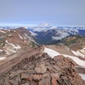 View to the north from the summit of Old Snowy with Mount Rainier occupying the background.- Goat Rocks Thru-hike