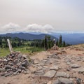 Large cairn where the PCT meets the Snowgrass Flat Trail junction.- Goat Rocks Thru-hike