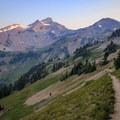 Ives Peak above the PCT as it ascends south toward Cispus Pass.- Goat Rocks Thru-hike