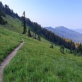The PCT as it descends a spur out of the alpine Goat Rocks toward Sheep Lake.- Goat Rocks Thru-hike