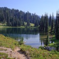 Sheep Lake offers several backcountry sites and is also the site of the PCT/Nannie Ridge trails junction.- Goat Rocks Thru-hike
