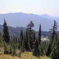 View to the south from Nannie Ridge of the smoke-filled foothills.- Goat Rocks Thru-hike