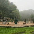 Campground playground. There are several in the park. Some are old style, and some are newer like this one. - Watkins Glen State Park Campground
