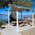 A picnic bench at South Bay day-use area.- Washoe Lake State Park