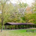 One of many sheltered picnic areas within the park.- Potato Creek State Park