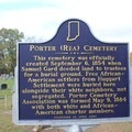 Description of the Rea Cemetery located within the park.- Potato Creek State Park